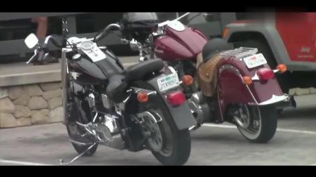 万万没想到, 街头偶遇两台印第安摩托, 当认清车主时, 我仿佛看到终结者