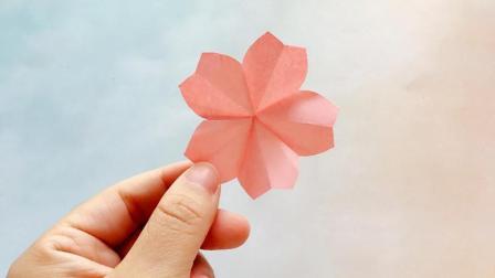 1分钟教你用一张纸折出樱花, 简单又漂亮, 贴在墙上超好看
