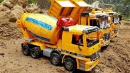 搅拌车大卡车动画片 清洗挖掘机玩具视频 儿童遥控挖掘机搅拌车大卡视频表演