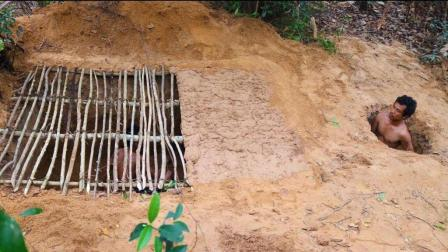 牛人建造地下房屋, 修建过程让人折服, 生存能力真强, 堪比原始人