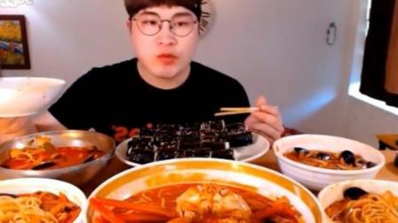 韩国大胃王狂吃4种海鲜面+海蟹面, 深渊巨口在吸面了