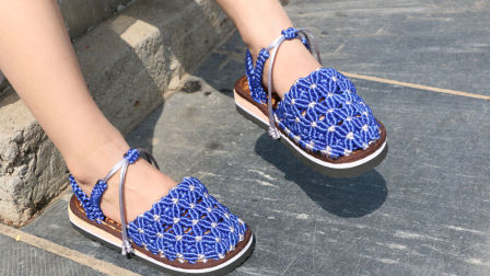 雅馨绣坊22集上集菱形花儿童包脚趾凉鞋编织花样集锦