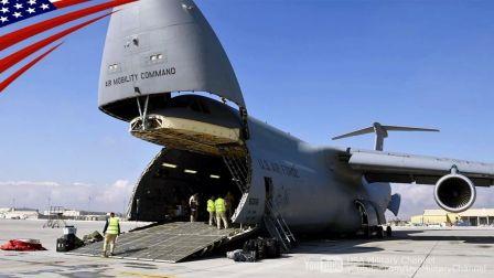 美国空军强大的C-5M超级银河 远程超大型战略运输机-在行动!运送货物和士兵