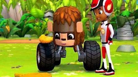 旋风战车队之小猴子很伤心它没有办法拿到香蕉是阿杰帮助了它