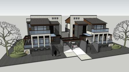唯美的中式双拼别墅设计, 对称设计, 兄弟俩就该建这样的房子!
