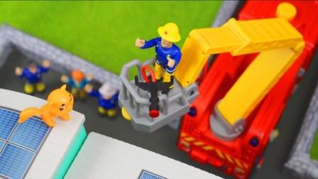 2018年最新消防车动画片 消防车救火玩具视频大全03