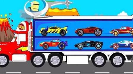 玩具视频惯性汽车 挖掘机 推土机 吊车 大卡车 汽车总动员动画片 汽车破烂王