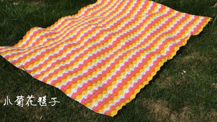 第213集小菊花毯子的钩织方法小辛娜娜钩织空调被子盖被毛毯子