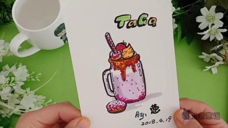 3分钟小教程, 纸上画美食, 樱花冻酸奶甜甜圈草莓冰激凌
