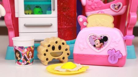 米奇妙妙屋米妮烤面包机玩具 培乐多彩泥为米妮做荷包蛋早餐