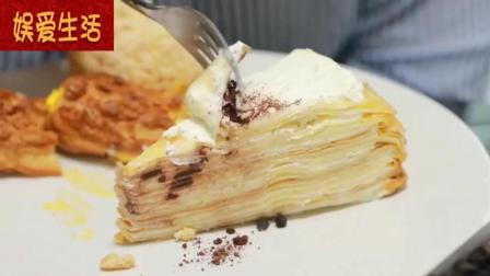 韩国吃播: 烤肉妹秀彬吃泡芙奶油蛋糕, 大口的吃, 吃的好开心