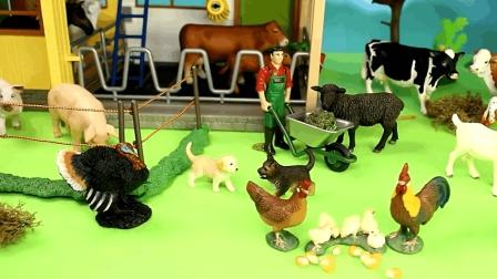 卡通农场玩具积木组装