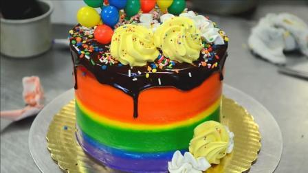 彩虹生日蛋糕制作方法, 有颜值又美味, 令人垂涎欲滴