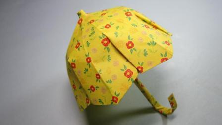 怎么折纸伞, 小学生手工简单又漂亮伞的折法, DIY手工制作