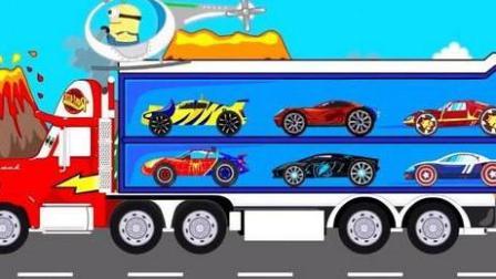 大脚车竞速赛 赛车总动员 挖掘机 推土机 吊车 大卡车 汽车总动员动画片国语版