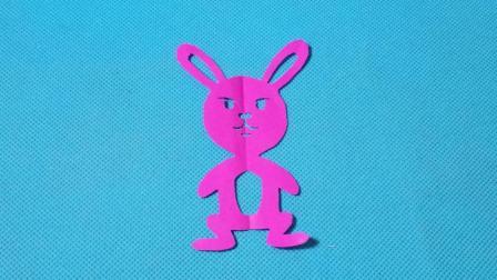 剪纸小课堂: 小兔子第5款, 儿童喜欢的手工DIY, 动手又动脑