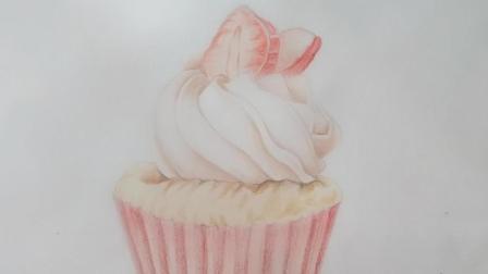 彩铅上色杯子蛋糕-给自己一个不一样的下午茶