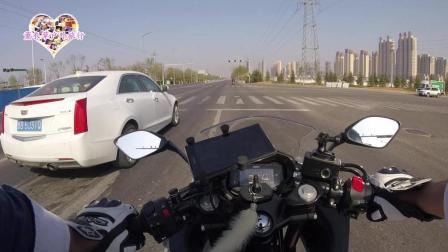 豪爵铃木GSX250小白车主有话说, 摩托车公路骑行要排队等红灯吗? 求科普