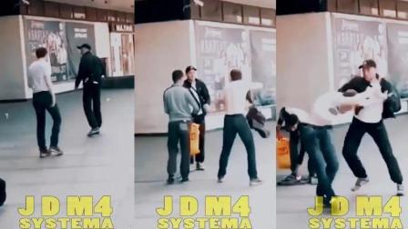 国外真实街斗视频! 民间高手在电梯内以一打三, 瞬间KO两人!