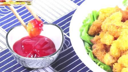 附近美食: 自制鸡米花, 面包糠可以用薯片捏碎后代替。