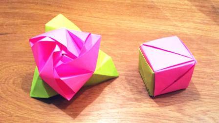 """超酷炫的折纸""""魔术花"""", 看似一个小方块, 打开却变成一朵玫瑰花"""
