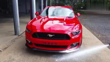 实拍外国清洗一辆野马汽车, 他们洗车真仔细, 洗完后和新的一样