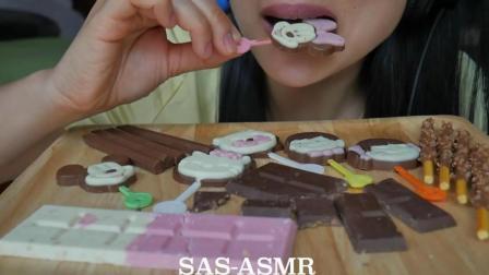 国外吃货微笑姐, 吃各种各样的巧克力, 脆脆的咀嚼声, 听着真舒服