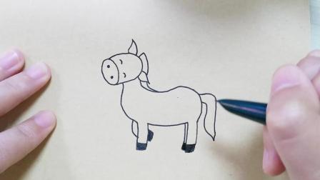 动物简笔画教程, 可爱的小马简笔画!