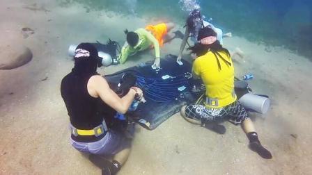 :潜水员海底围坐打扑克 摩托车水上漂穿越湖面