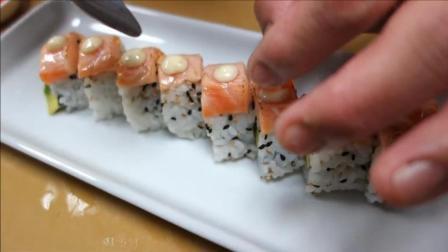 三文鱼寿司制作过程, 难怪这么贵, 原来是因为细心!