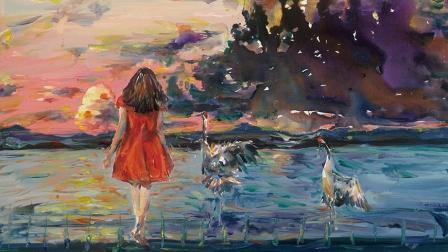 喜爱丹顶鹤的女孩, 用画笔勾勒自己魅力的故乡——扎龙 董春凤