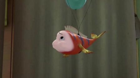 疯狂跳跳鱼: 小红鱼利用气球把绑在气球上奄奄一息的大鱼救下来
