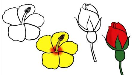 几笔画玫瑰花, 木槿花, 1分钟绘画教程视频, 教不会画画的你学画花朵, 原来这么简单
