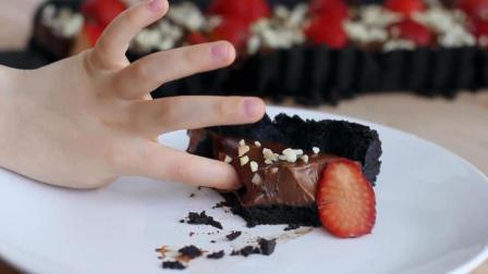 不用烤箱, 奥利奥+草莓+巧克力做出的蛋糕, 最后上手吃时我馋疯了