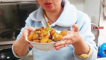 媳妇下厨做土豆烧肉, 难道是传说中的原味农家菜? 简单还好吃!