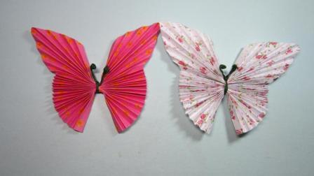 漂亮的花蝴蝶手工折纸教程, 怎么用纸折蝴蝶, 简单的折纸