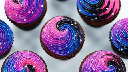 洛洛烘焙坊: 教你做美到窒息的银河主题纸杯蛋糕