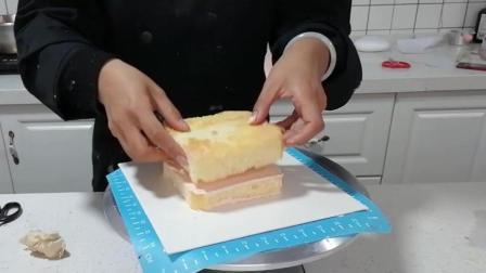 正方形蛋糕抹面(三): 放上上层蛋糕胚