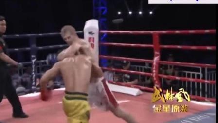 邱建良给一龙报仇了, 暴打KO一龙的美国拳王, 裁判都不敢拉
