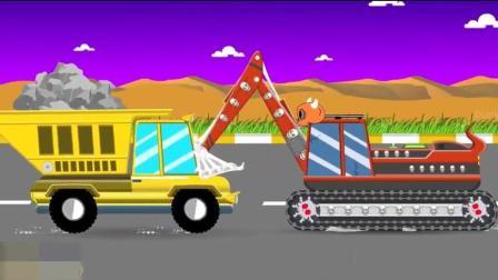 幼儿益智动画启蒙, 挖掘机想摧毁小汽车, 翻斗车前来帮忙了!