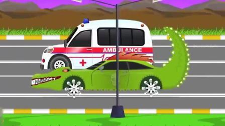幼儿益智动画启蒙, 可恶的绿色小汽车最后被救护车制服了!