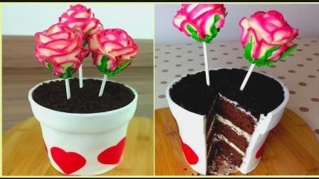 浪漫的粉色玫瑰花盆蛋糕, 少女心泛滥了, 养眼又美味