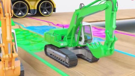 开发幼儿思维和创造力益智动画, 货车每节车厢里开出彩色的挖土机