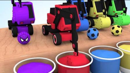 开发幼儿思维和想象力, 挖土机给足球图案的奇趣蛋放水里换图案!