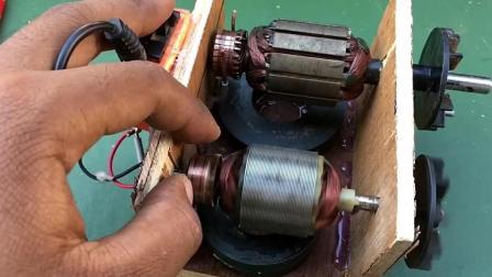 用两个通用电机和磁铁来电动转子