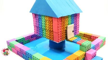 橡皮泥制作, 英语字母教孩子认识颜色和数字, 漂亮的水池房子, 小臭臭亲子游戏