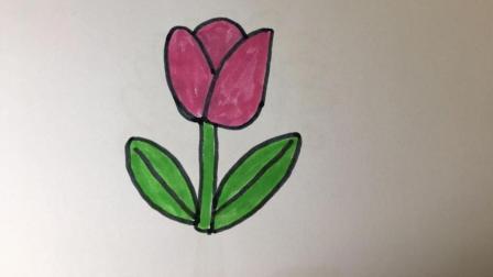 【简笔画25】几笔就成的郁金香的画法