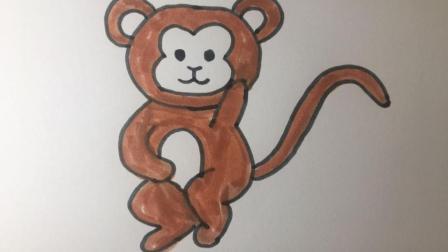 【简笔画29】挠头思考问题的小猴子