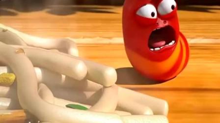 烫! 爆笑虫子: 红虫和黄虫为了吃面条各施手段, 还跳起了面条舞