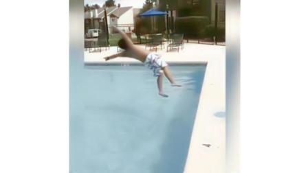 搞笑视频: 胖子落水的瞬间能不能溅起最大的水花